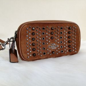 Coach Studded Double Zip Purse with strap